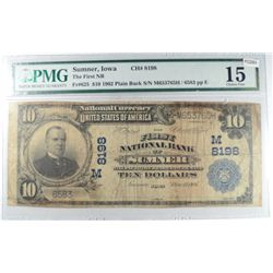 1902  National  $10 First NB Sumner IA PMG15   Est  $300-$350