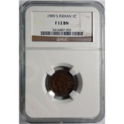 1909S Lincoln penny  NGC 12BN  est  $110-$125