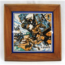 Spanish Made Don Quixote Tile in Wooden Frame