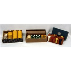 Vintage Poker Chips and Backgammon Dice Pieces