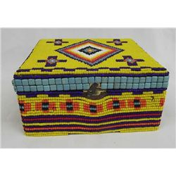 Hand Beaded Cedar Cigar Box - Artist Kills Thunder