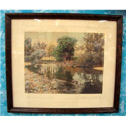 Wallace Nutting Hand Tinted Photo Original Frame