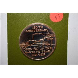 1971 New Mexico Historical Society 150th Anniversary Of Opening Of Santa Fe Trail Commemorative Meda