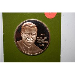 United Auto Workers Union-Region 18 Walter Reuther Commemorative Medal; Solid Franklin Bronze Proof;