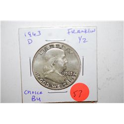 1963-D Ben Franklin Half Dollar; Choice BU; EST. $15-25