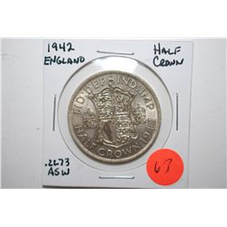 1942 England Half Crown Foreign Coin; .2273 ASW; EST. $10-20