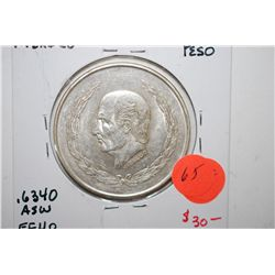 1952 Mexico Cinco (5) Pesos Foreign Coin; EF40; 0.720 Ley .6430 ASW; EST. $25-40