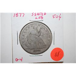 1877 Seated Liberty Half Dollar; G4; EST. $30-40