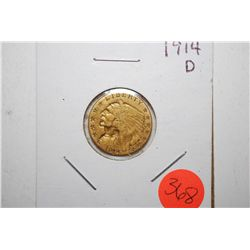 1914-D Indian Chief $2 1/2 Gold Coin; EST. $200-250
