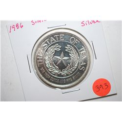 1986 The State Of Texas Silver Round; .999 Silver 1 Oz.; EST. $30-40
