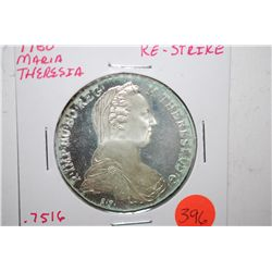 1780 Maria Theresia Foreign Coin Re-Strike; .7516 ASW; EST. $50-75