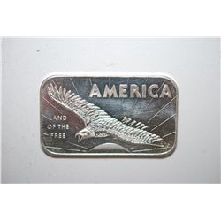 "American Argent Mint Ltd. Silver Ingot ""America-Land Of The Free""; .999 Fine Silver 1 Oz.; EST. $30-"