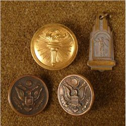WWI INSIGNIA FROUP-2 DOUGHBOY BUTTONS -BRASS INSIGNIA