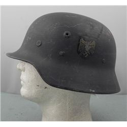 CAPTURED WWII HELMET WITH NAZI NAVY EAGLE & SWASTIKA