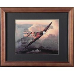 FRAMED WWII BRITISH SPITFIRE FLYING OVER WWII GERMANY