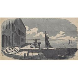 ORIGINAL Antique PRINT scene The Gorge of Fort Sumter