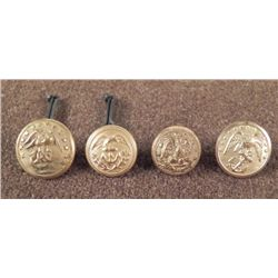 4 Civil War Small Antique Buttons U.S. Navy Gilt