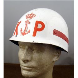 NAVY RESERVES HELMET-WHITE WITH RED INSIGNIA
