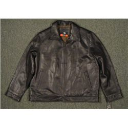 Calvin Klein Black Leather Jacket Size XL