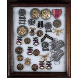 LARGE FRAMED COLLECTION OF U.S. MILITARIA WWII VIETNAM
