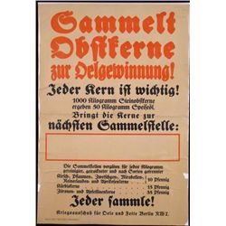 ORIGINAL WWI GERMAN WAR POSTER DONATIONS FOR WAR EFFORT