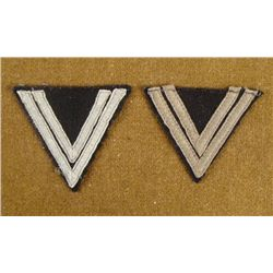 TWO ORIGINAL NAZI DOUBLE CHEVRON RANK PATCHES