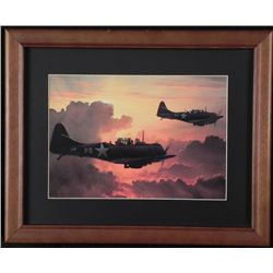 FRAMED WWII FIGHTER PLANE PRINT IN SKIES OVER EUROPE