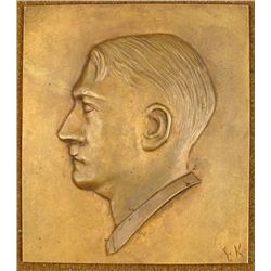 ORIGINAL NAZI PERIOD PLAQUE OF ADOLF HITLER IN RELIEF