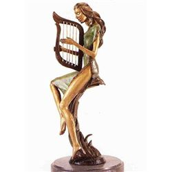 """Lady With Harp"" Bronze Sculpture - Chiparus"
