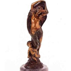 """Nude With Cherub"" Bronze Sculpture - Feyrot"