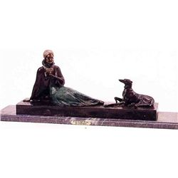 """Seated Woman With Dog"" Bronze Sculpture - Chiparus"