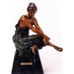 """French Girl"" Bronze Sculpture - Rancoulet"