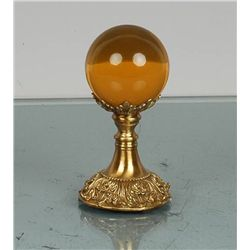 Amber Crystal Ball On Brass Stand