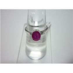 NATURAL 9.00 CTW RUBY RING .925 STERLING SILVER