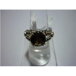 29.75 CTW SMOKEY TOPAZ AND CITRINE RING .925 STERLING S