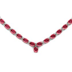 Natural Garnet 57.4ctw Oval Necklace .925 Sterling