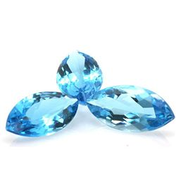 Natural Blue Topaz Marquise Cut 10x20mm 3 pcs 25.95 ctw