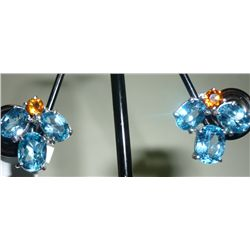 NATURAL 24.75 CTW BLUE TOPAZ EARRING .925 STERLING SILV