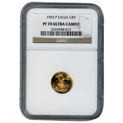 Certified Proof American Gold Eagle $5 1992 PF70 NGC