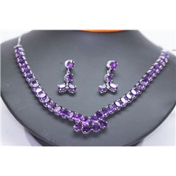 166.51 CTW AMETHYST NECKLACE AND EARRING SET .925 STERL