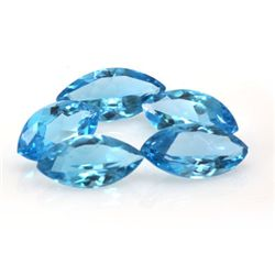 Natural Blue Topaz Marquise Cut 9x18mm 5 pcs 31.72 ctw
