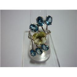 28.50 CTW BLUE TOPAZ AND LEMON TOPAZ RING .925 STERLING