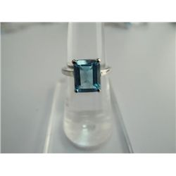 16.00 CTW BLUE TOPAZ RING .925 STERLING SILVER