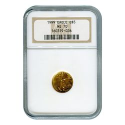 Certified American $5 Gold Eagle 1999 MS70 NGC