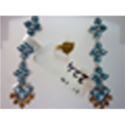 37.00 CTW BLUE TOPAZ AND CITRINE EARRING .925 STERLING