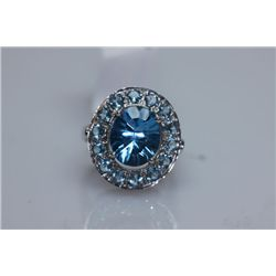35.30 CTW BLUE TOPAZ RING .925 STERLING SILVER