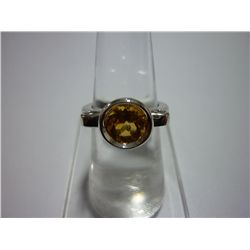 24.00 CTW CITRINE RING .925 STERLING SILVER