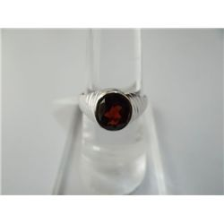 22.25 CTW GARNET RING .925 STERLING SILVER