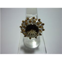 35.50 CTW SMOKEY TOPAZ AND CITRINE RING .925 STERLING S