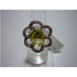 41.25 CTW LEMON TOPAZ AND PINK TOURMALINE RING .925 STE